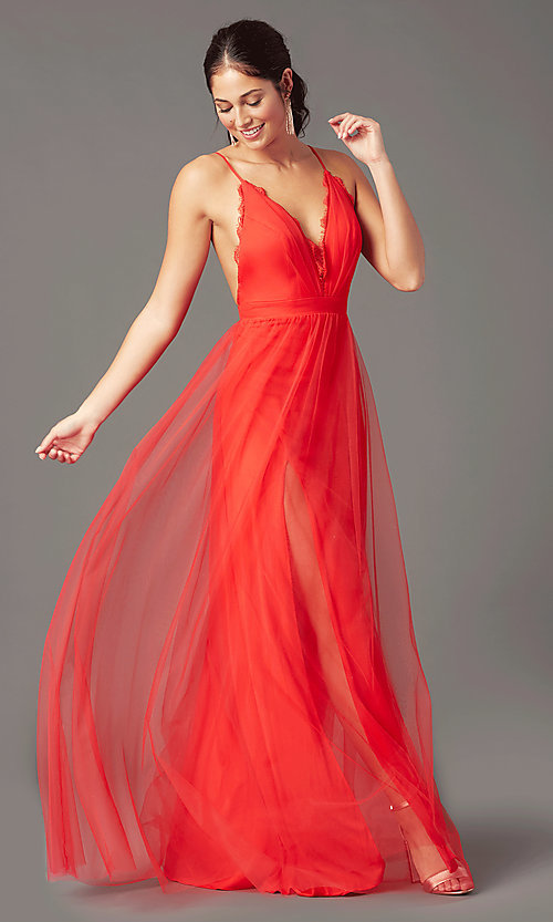 Image of long open-back formal tulle prom dress by PromGirl. Style: PG-B2042 Detail Image 2