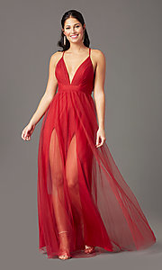 Image of long tulle v-neck formal prom dress by PromGirl. Style: PG-B2043 Detail Image 2