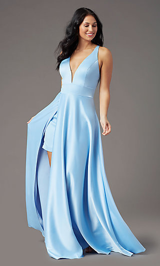 Faux-Wrap Long V-Neck Prom Dress by PromGirl
