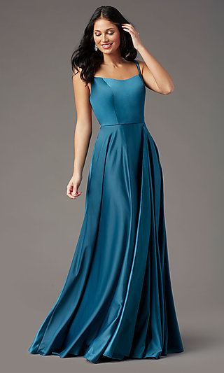 Strappy Back Long Prom Dress by PromGirl