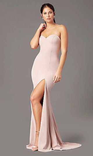 Classic Fitted Strapless Prom Dress by PromGirl