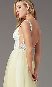 Image of PromGirl embroidered-bodice v-neck long prom dress. Style: PG-F2026 Detail Image 6