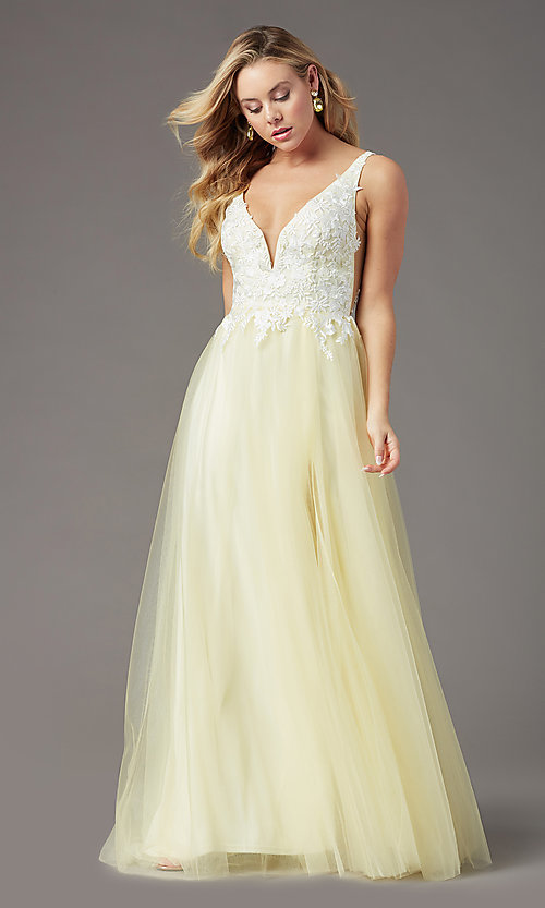 Image of PromGirl embroidered-bodice v-neck long prom dress. Style: PG-F2026 Detail Image 4