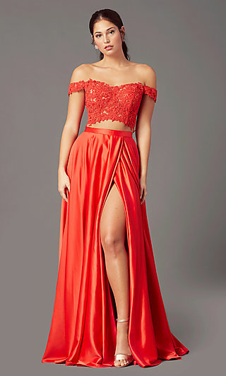 PromGirl Long Two-Piece Prom Dress with Pockets