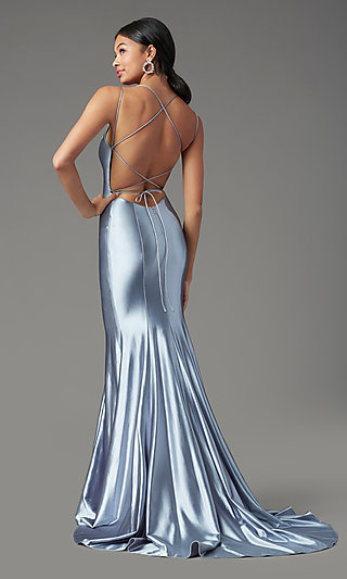 Long Satin Trumpet-Style Prom Dress by PromGirl
