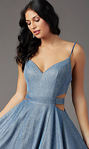 Image of long dusty blue glitter prom dress by PromGirl.  Style: PG-Z20969 Detail Image 1