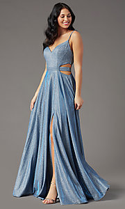 Image of long dusty blue glitter prom dress by PromGirl.  Style: PG-Z20969 Detail Image 2