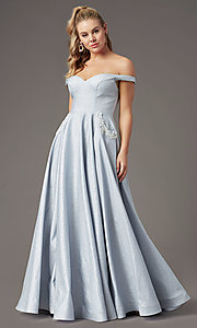 Image of silver glitter off-the-shoulder prom dress by PromGirl. Style: PG-Z20583 Front Image