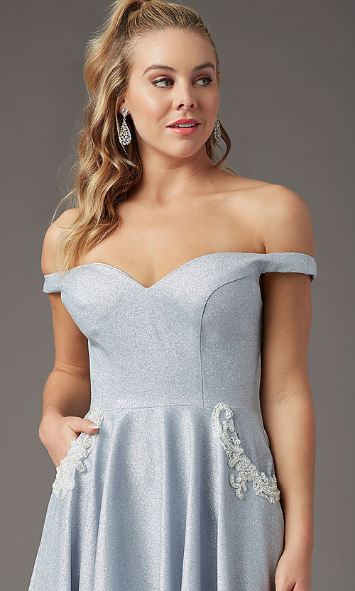 Image of silver glitter off-the-shoulder prom dress by PromGirl. Style: PG-Z20583 Detail Image 1