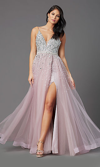 Beaded-Bodice Long Mauve Prom Dress by PromGirl