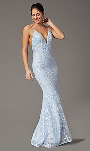 Image of long embroidered powder blue PromGirl prom dress. Style: PG-Z20555 Front Image