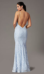 Image of long embroidered powder blue PromGirl prom dress. Style: PG-Z20555 Back Image