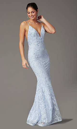 Long Embroidered Powder Blue PromGirl Prom Dress
