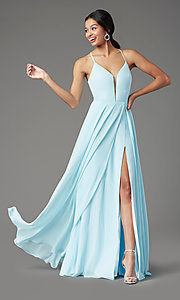 Image of corset-back long faux-wrap prom dress by PromGirl. Style: PG-B2004 Front Image