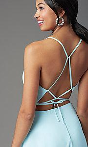 Image of corset-back long faux-wrap prom dress by PromGirl. Style: PG-B2004 Detail Image 2