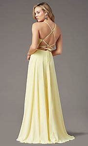 Image of corset-back long faux-wrap prom dress by PromGirl. Style: PG-B2004 Detail Image 4