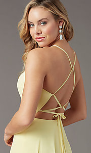 Image of corset-back long faux-wrap prom dress by PromGirl. Style: PG-B2004 Detail Image 5