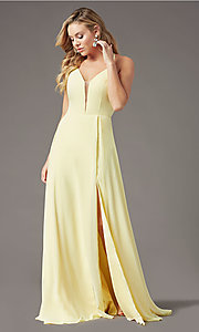 Image of corset-back long faux-wrap prom dress by PromGirl. Style: PG-B2004 Detail Image 6