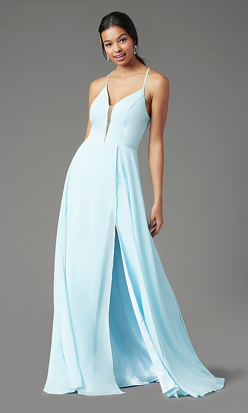 Image of corset-back long faux-wrap prom dress by PromGirl. Style: PG-B2004 Detail Image 1