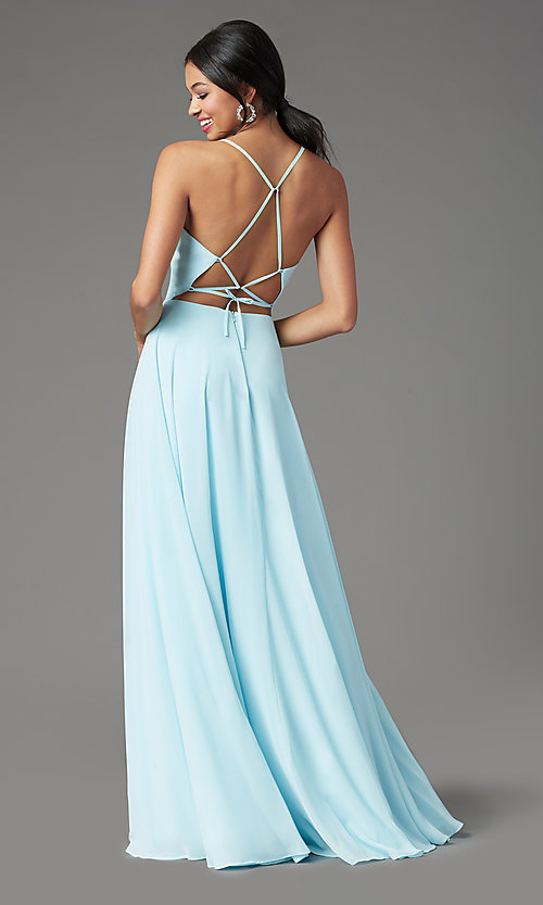 Image of corset-back long faux-wrap prom dress by PromGirl. Style: PG-B2004 Back Image