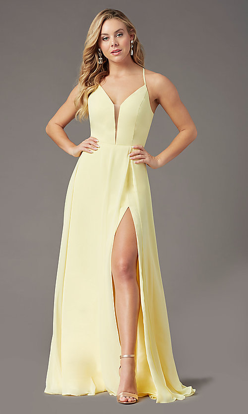 Image of corset-back long faux-wrap prom dress by PromGirl. Style: PG-B2004 Detail Image 3