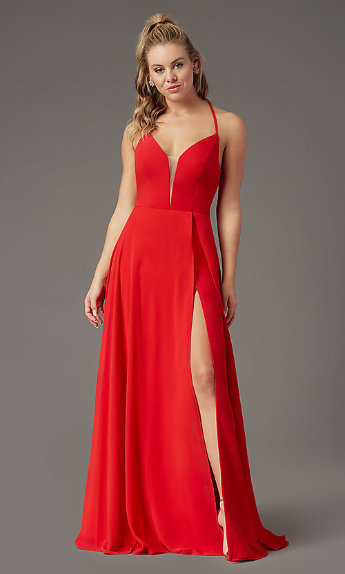 Image of corset-back long faux-wrap prom dress by PromGirl. Style: PG-B2004 Detail Image 7