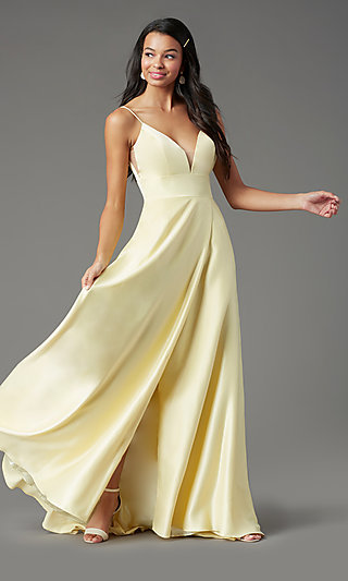 PromGirl Long Satin Formal Prom Dress with Pockets