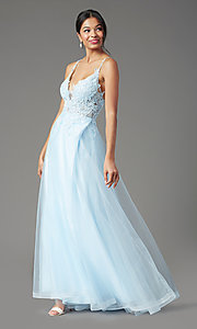 Image of faux-wrap long tulle formal prom dress by PromGirl. Style: PG-B2020 Detail Image 5