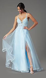 Image of faux-wrap long tulle formal prom dress by PromGirl. Style: PG-B2020 Detail Image 2