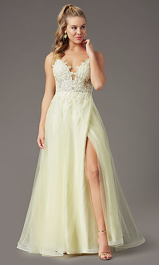 Faux-Wrap Long Tulle Formal Prom Dress by PromGirl