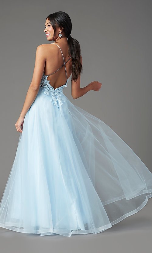 Image of faux-wrap long tulle formal prom dress by PromGirl. Style: PG-B2020 Detail Image 3