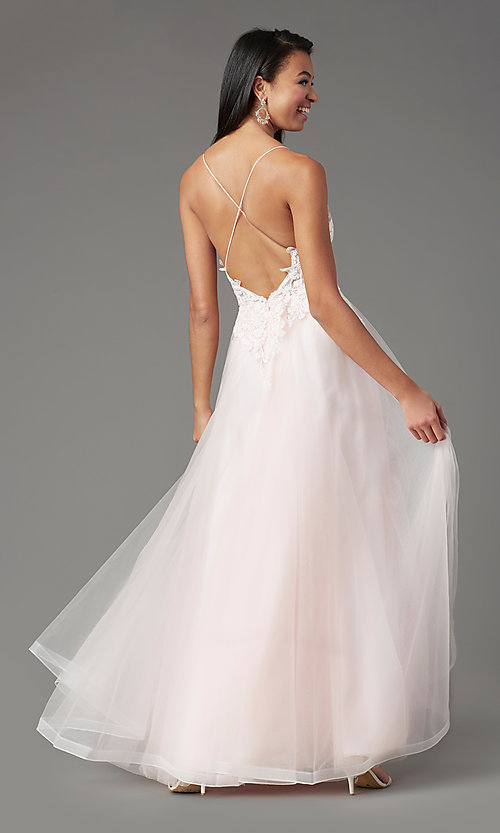 Image of faux-wrap long tulle formal prom dress by PromGirl. Style: PG-B2020 Detail Image 7