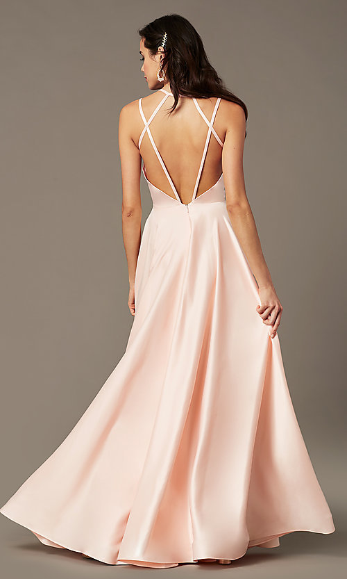 Image of long a-line sweetheart prom dress by PromGirl. Style: PG-B2026 Back Image
