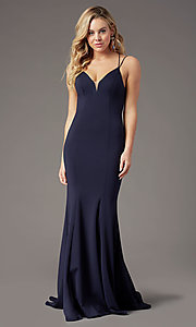 Image of long trumpet-style formal prom dress by PromGirl. Style: PG-B2031 Detail Image 1