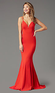 Image of long trumpet-style formal prom dress by PromGirl. Style: PG-B2031 Detail Image 3