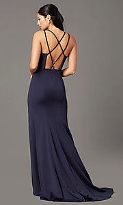 Image of multi-strap open-back long prom dress by PromGirl. Style: PG-B2034 Back Image