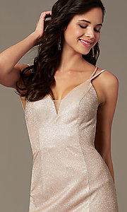 Image of long glitter-knit v-neck prom dress by PromGirl.  Style: PG-B2037 Detail Image 4