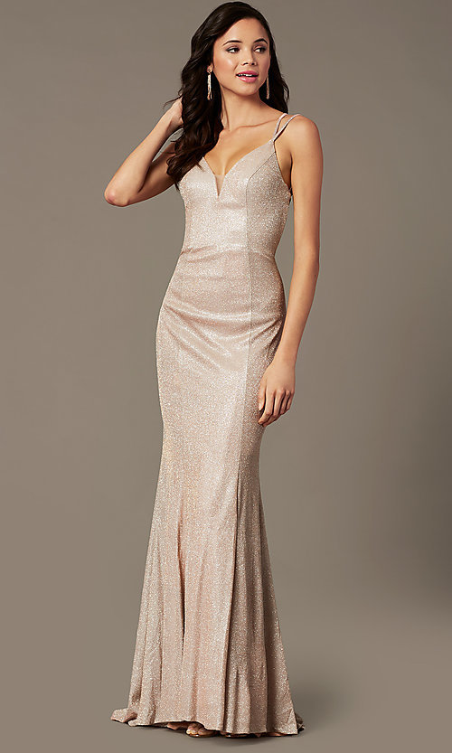Image of long glitter-knit v-neck prom dress by PromGirl.  Style: PG-B2037 Detail Image 2