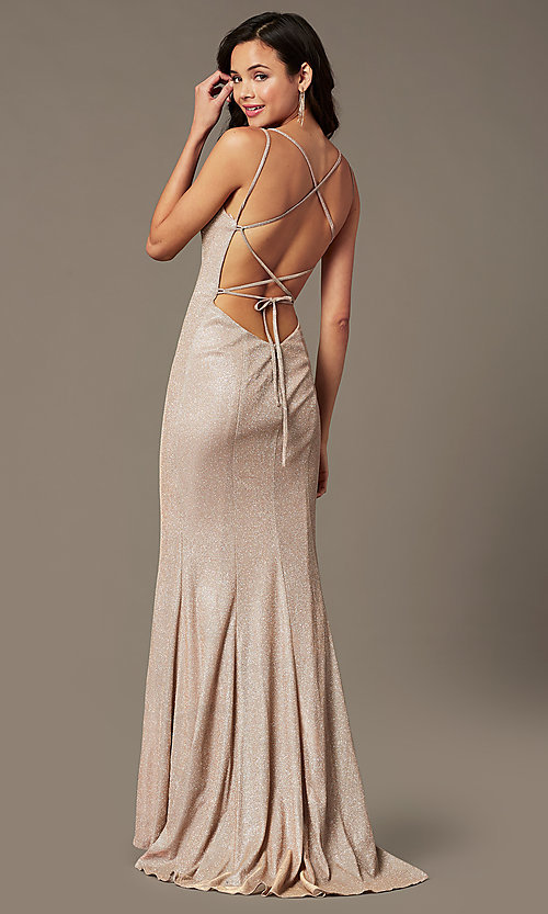 Image of long glitter-knit v-neck prom dress by PromGirl.  Style: PG-B2037 Detail Image 3