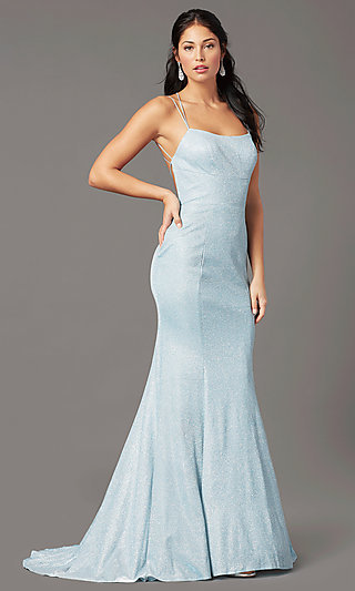 Glitter Knit Long Open-Back Prom Dress by PromGirl