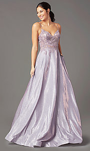 Image of long a-line embroidered-bodice prom dress by PromGirl. Style: PG-B2041 Front Image