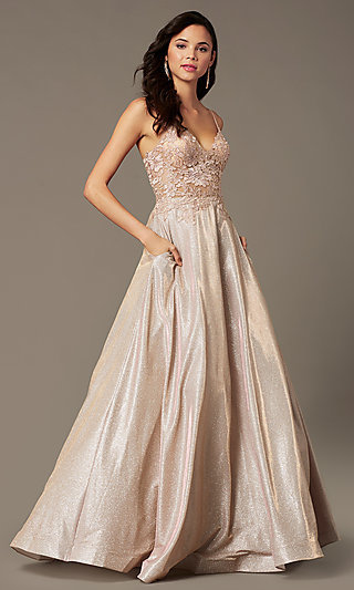 Long A-Line Embroidered Bodice Prom Dress by PromGirl