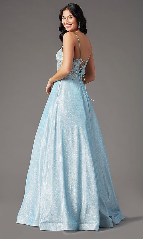 Image of long a-line embroidered-bodice prom dress by PromGirl. Style: PG-B2041 Detail Image 7