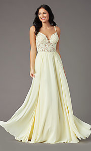 Image of PromGirl long prom dress with double-slit skirt. Style: PG-F2014 Detail Image 6