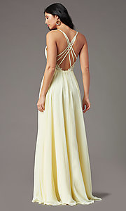 Image of PromGirl long prom dress with double-slit skirt. Style: PG-F2014 Detail Image 4