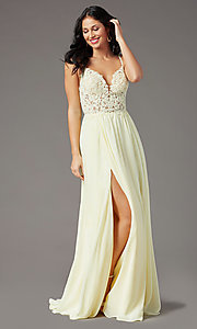 Image of PromGirl long prom dress with double-slit skirt. Style: PG-F2014 Detail Image 3