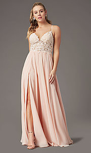 Image of PromGirl long prom dress with double-slit skirt. Style: PG-F2014 Detail Image 7