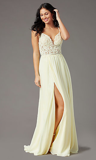 Embroidered Bodice Long Prom Dress by PromGirl