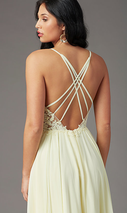 Image of PromGirl long prom dress with double-slit skirt. Style: PG-F2014 Detail Image 5