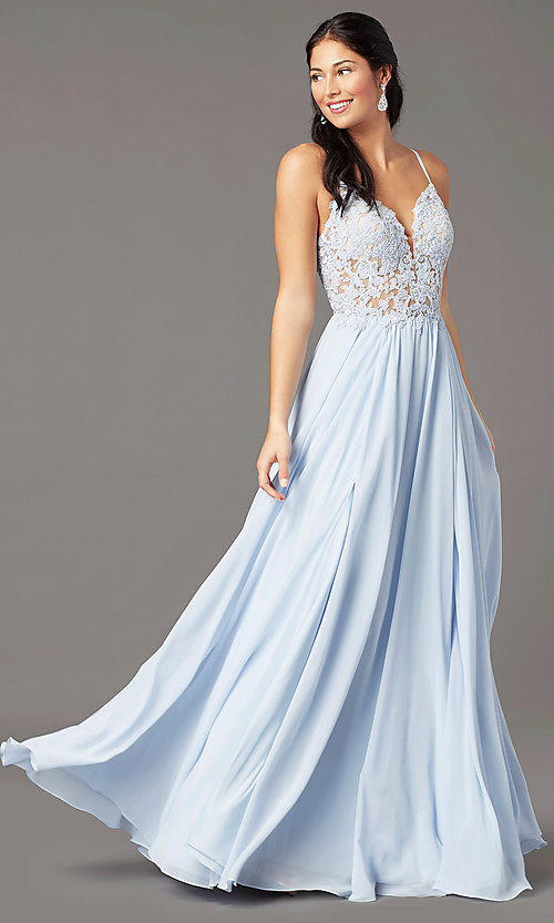 Image of PromGirl long prom dress with double-slit skirt. Style: PG-F2014 Front Image